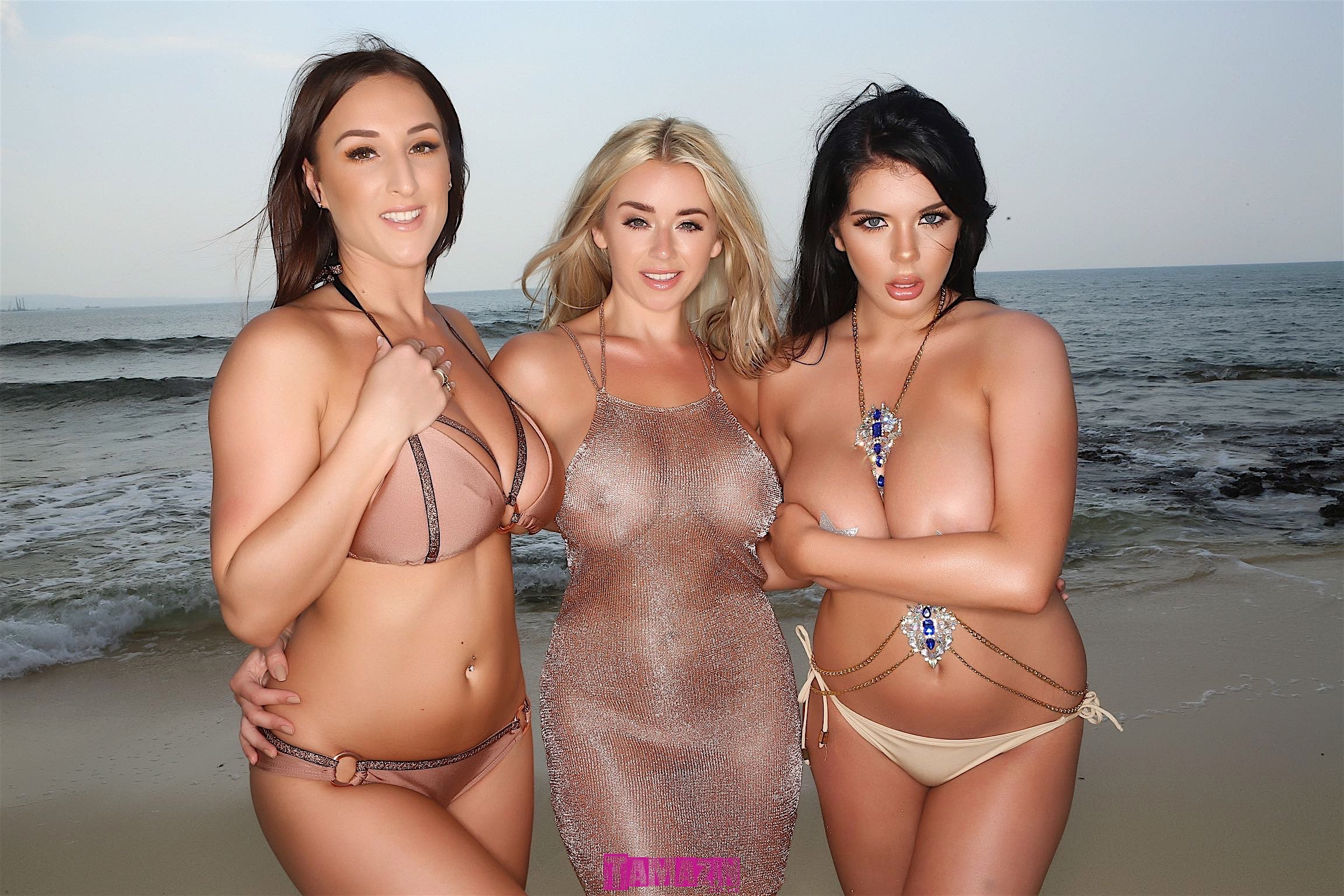 Naked on the beach with Stacey Poole and Melissa Debling! – 201 Uncensored Images